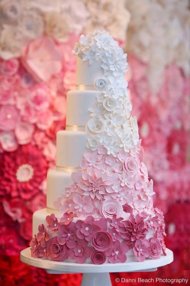 Ombre Flower Wedding Cake