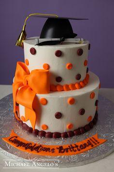 Orange and Black Graduation Cake