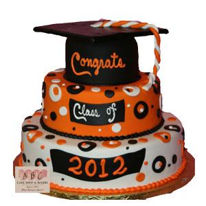 Orange and Black Graduation Tier Cakes