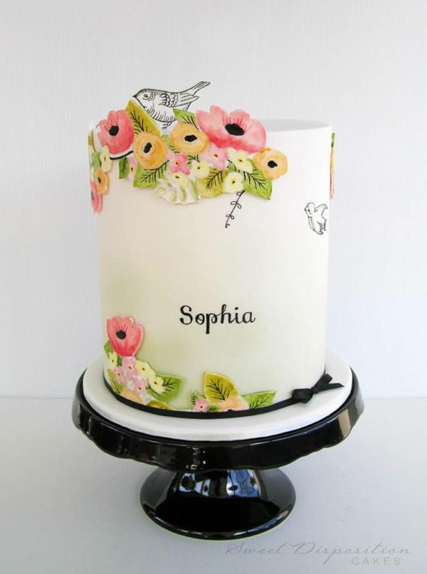 Painted Flowers On Fondant Cake