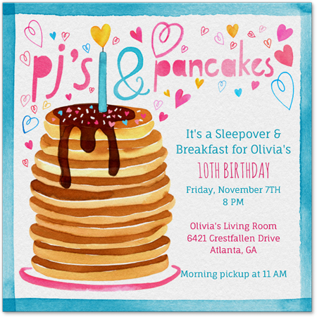 Pancake and PJ Party Invitation