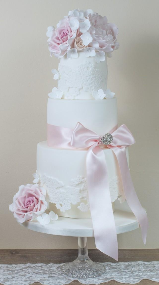 Peony Wedding Cake with Roses