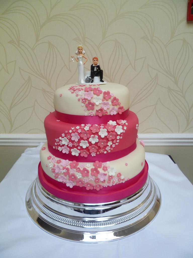 Pink and Cream Wedding Cake