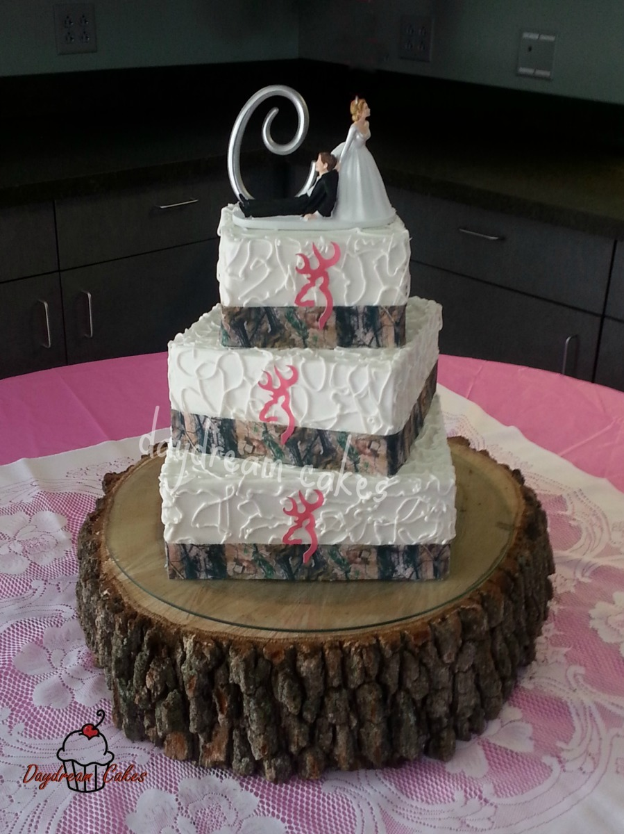 Pink Camo Wedding Cake