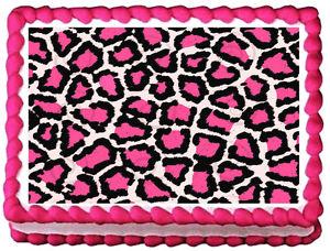 Pink Cheetah Edible Cake Topper