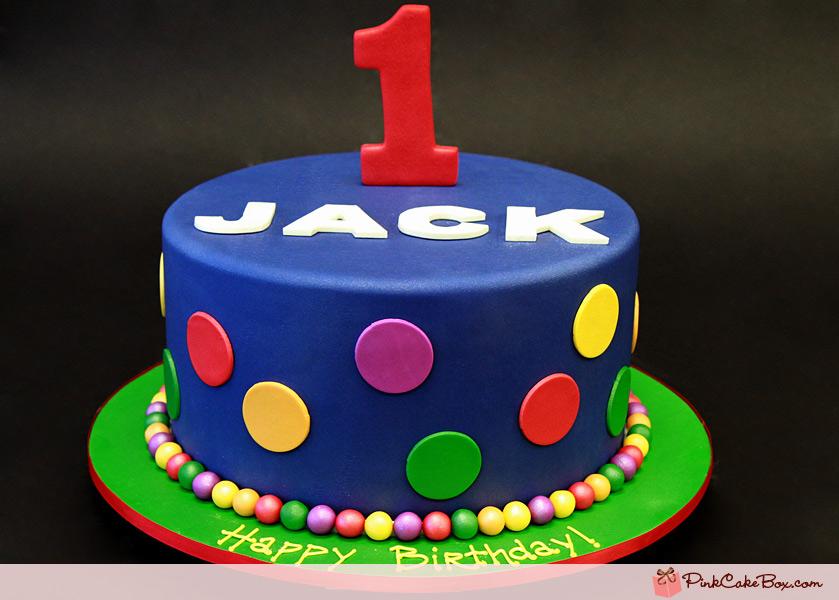 Polka Dot 1st Birthday Boy Cake