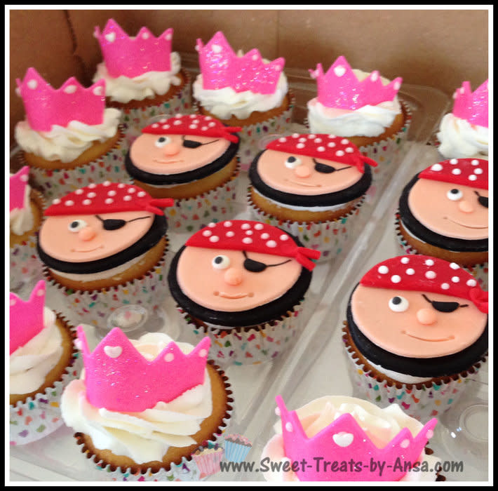 Princess and Pirate Theme Cupcakes