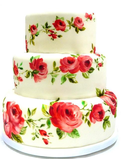 Rose Hand Painted Wedding Cake