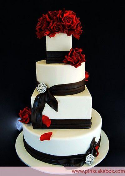 Round Wedding Cake Red Black and White