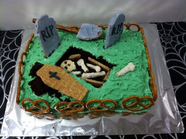Sheet Cake Halloween Graveyard