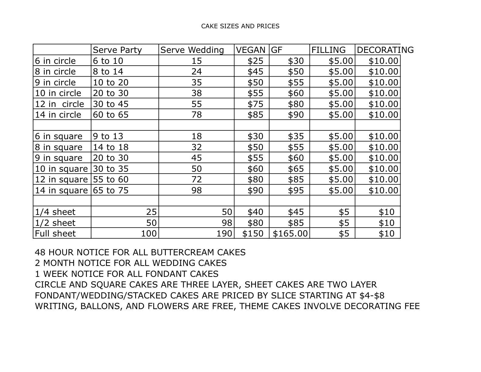 Sheet Cake Size Prices