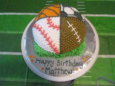 Sports Basketball Baseball Football and Soccer Cake