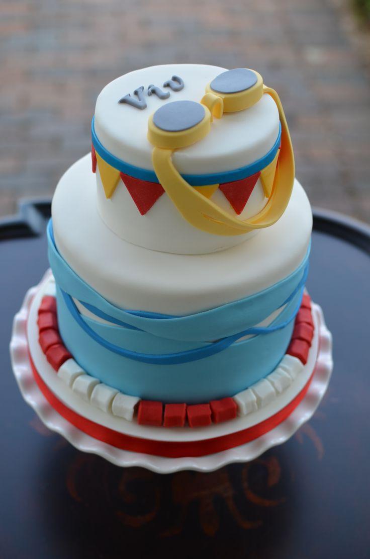 Swimming Themed Birthday Cake