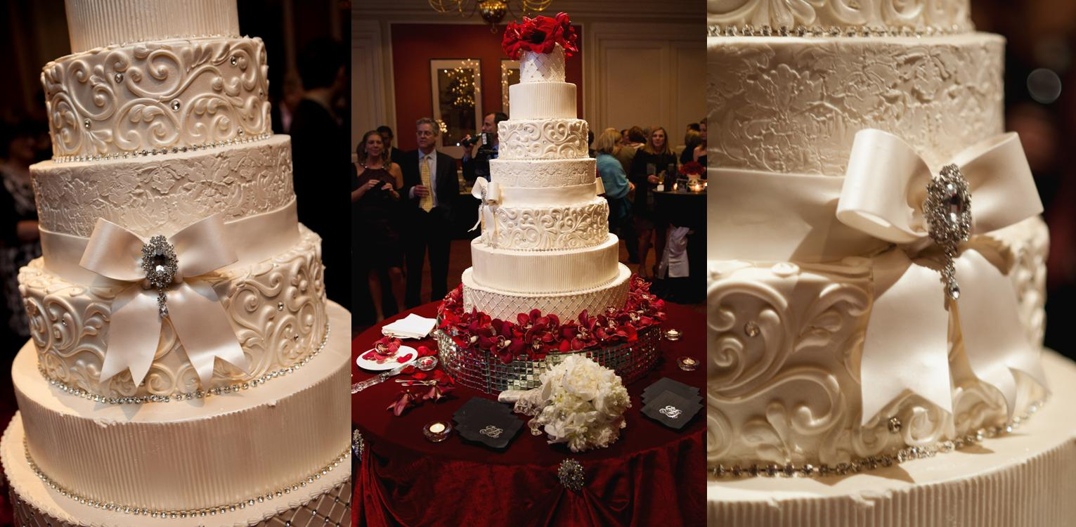 Tall Bling Wedding Cakes with Flowers