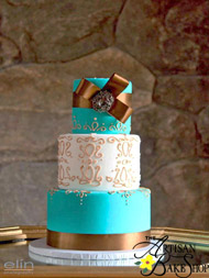 Teal and Gold Elegant Weddings Cake