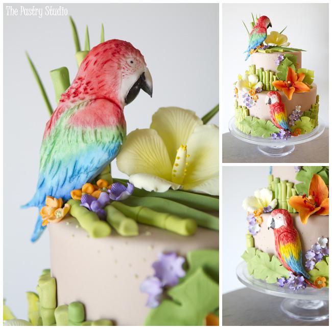 Tropical Beach Themed Wedding Cake