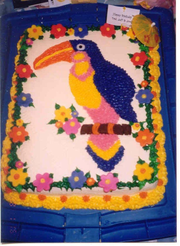 Tropical Bird Birthday Cake