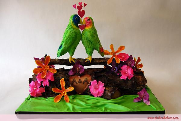 Tropical Bird Wedding Cake
