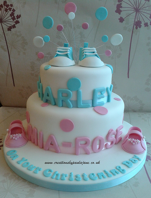 Twin Girls Christening Cake