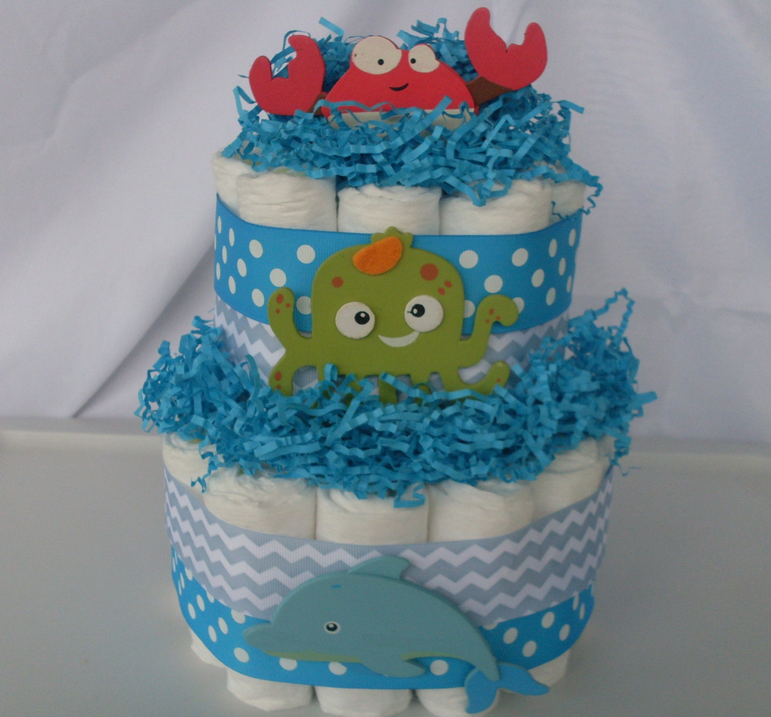 Under the Sea Baby Shower Diaper Cake Centerpieces