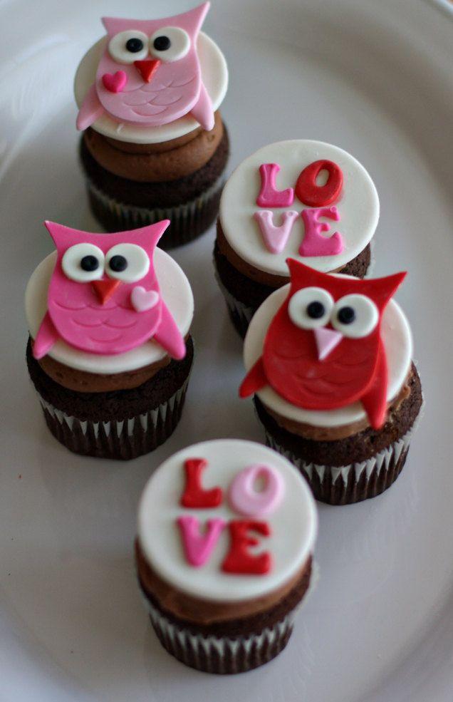 Valentine's Owl Cupcakes