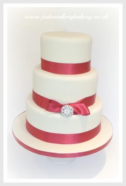 Wedding Cake Maroon Ribbon