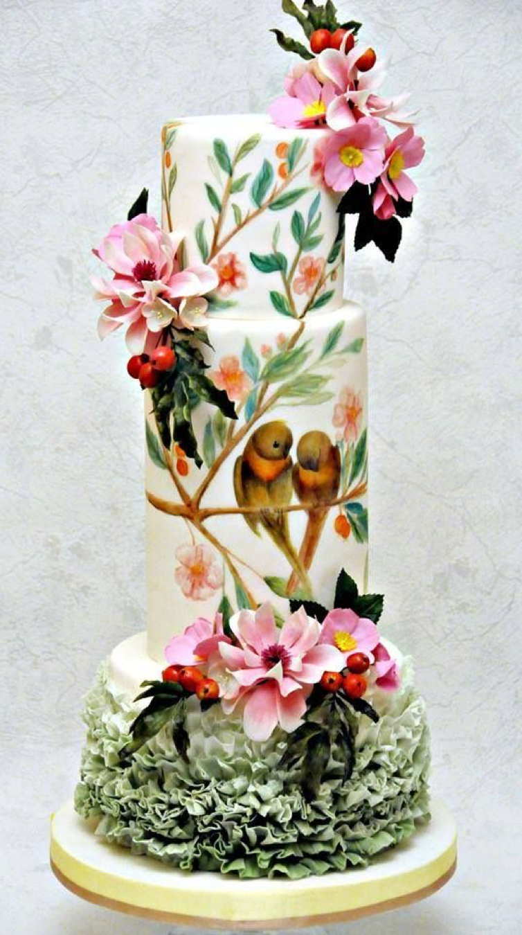 Wedding Cake with Flowers Painted