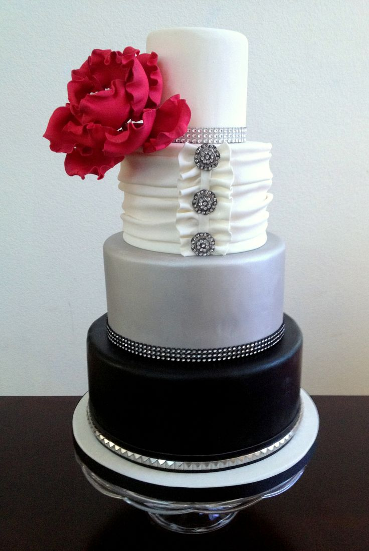 White and Silver Wedding Cake Bling