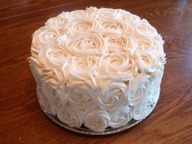 White Rosette Wedding Cake Simple