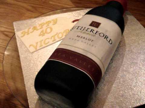 Wine Bottle Shaped Birthday Cake