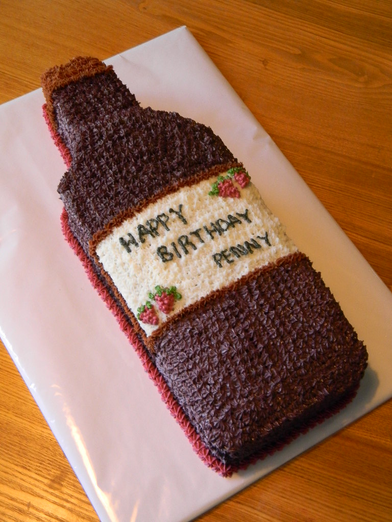 Wine Bottle Shaped Cake