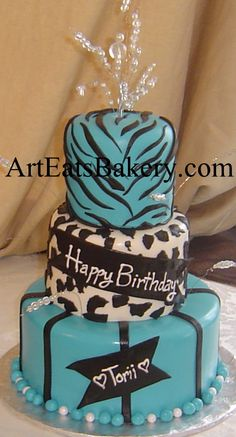 Black and Turquoise Birthday Cake