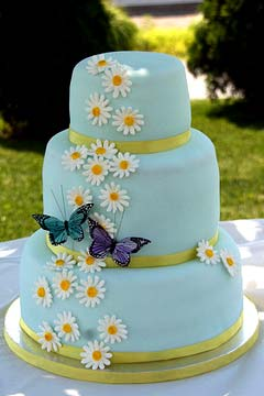 Blue and Purple Daisy Wedding Cake