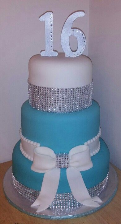Blue and Silver Sweet 16 Cake