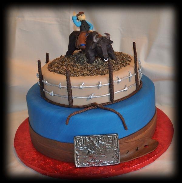 Bull Riding Birthday Cake