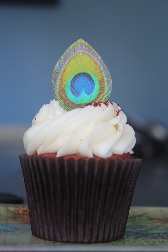 Cake with Edible Peacock Feathers