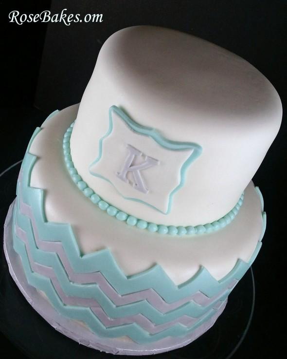 Chevron Baby Shower Cake with Monogram