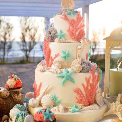 Coral Beach Themed Wedding Cake