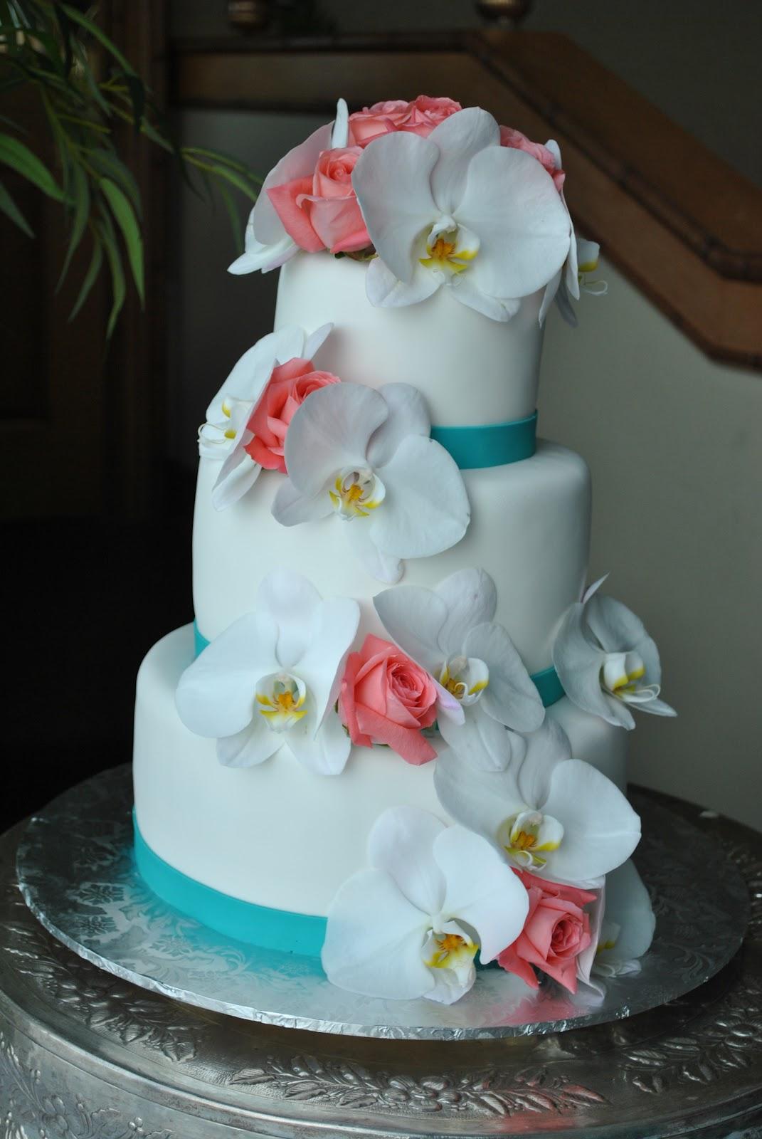 Coral Beach Wedding Cake