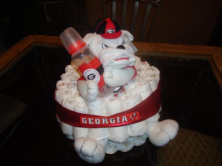 Georgia Bulldogs Diaper Cake