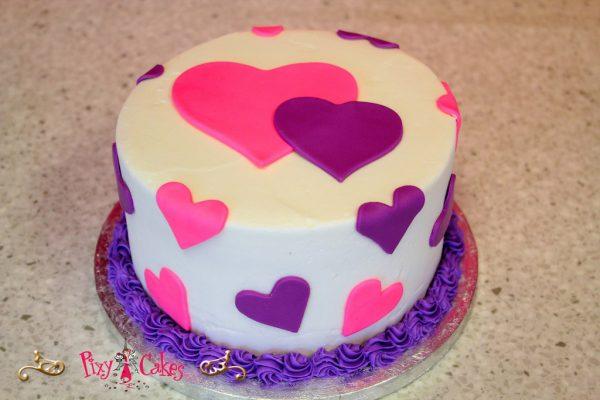 Girls Pink and Purple Birthday Cake
