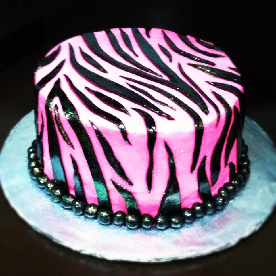 Glitter Pink Zebra Cake