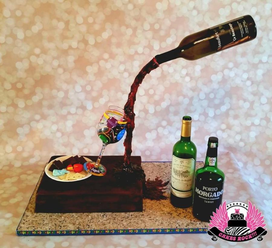 Gravity-Defying Wine Bottle Cake