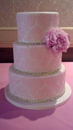 Light Pink Damask Cake
