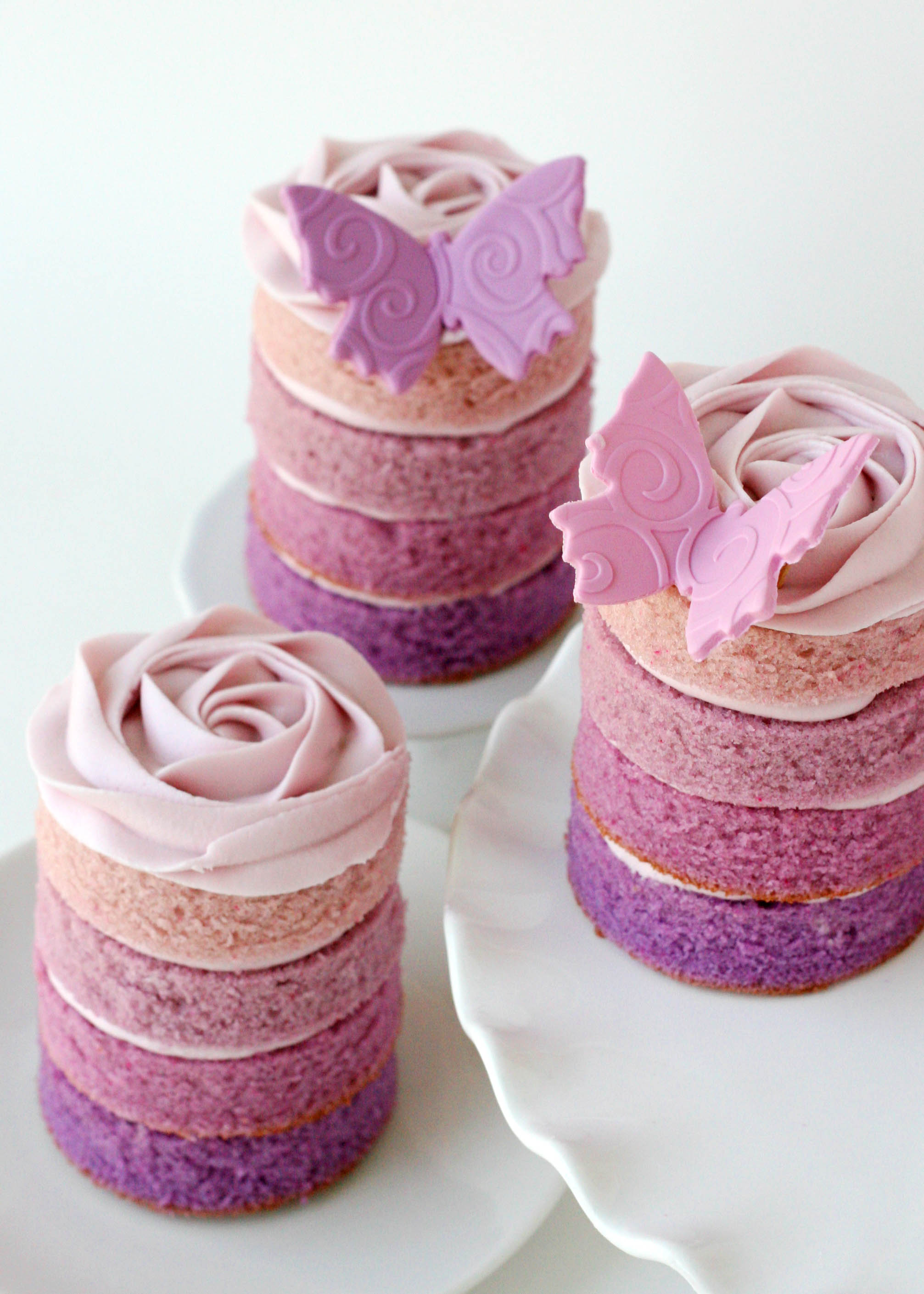 Mini Purple Ombre Cakes
