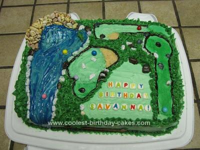 Miniature Golf Birthday Cake