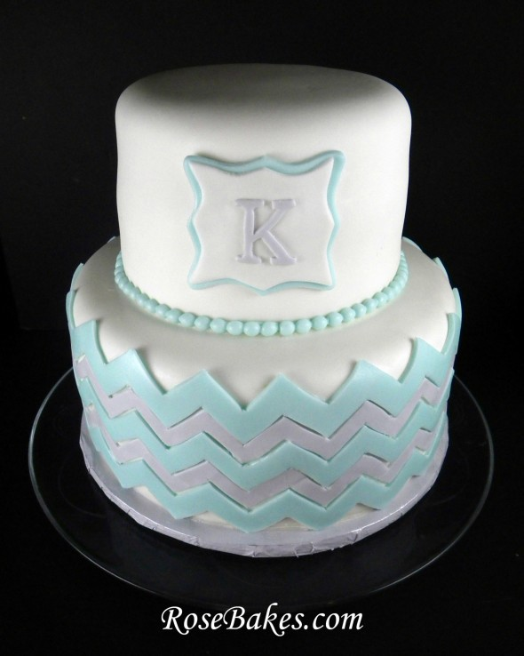 Monogram Chevron Baby Shower Cake