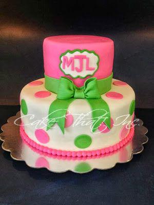 Monogrammed Baby Shower Cake