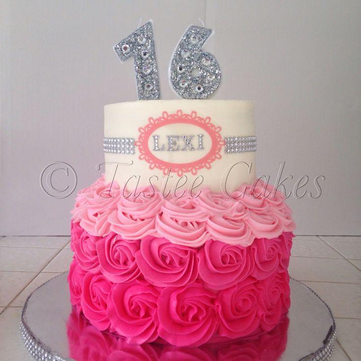 Pink Sweet 16 Birthday Cake