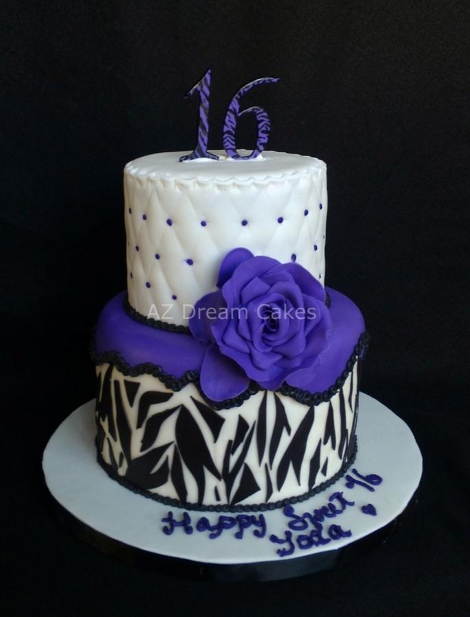 Purple and Black Sweet 16 Cake